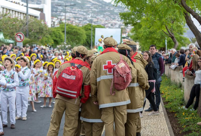 Medical service at Madeira Flower Festival Parade in Funchal on the Island of Madeira. Portugal. Funchal; Madeira; Portugal - April 22; 2018: Medical service at royalty free stock photography