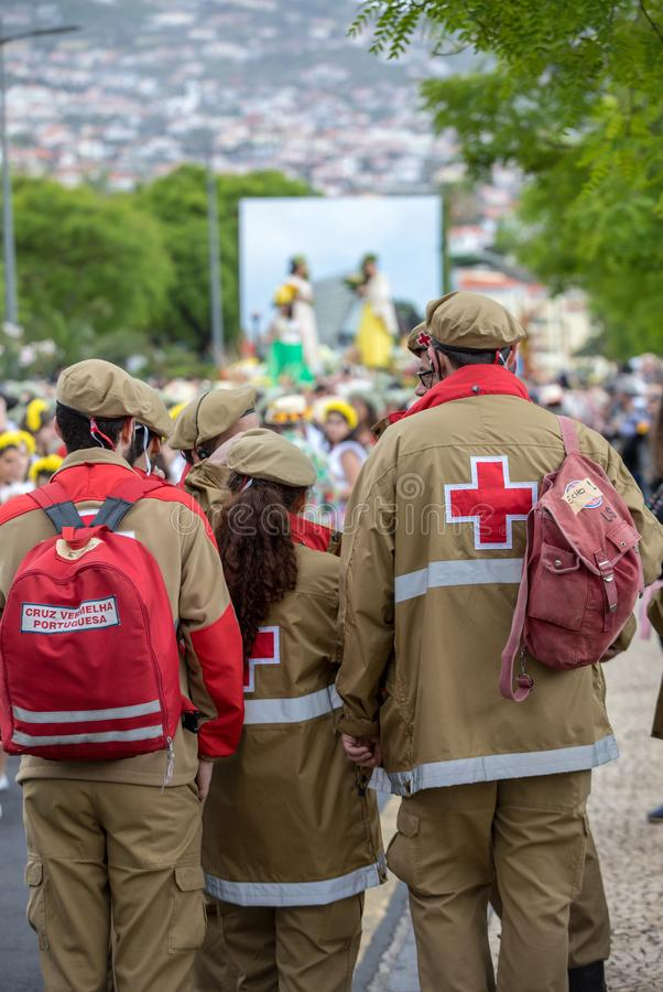 Medical service at Madeira Flower Festival Parade in Funchal on the Island of Madeira. Portugal. Funchal; Madeira; Portugal - April 22; 2018: Medical service at stock photo