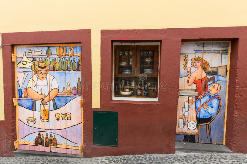 Funchal, Madeira, Portugal -The art of open door in the street of Santa Maria. stock photography