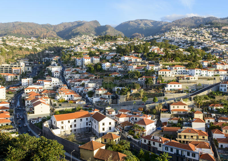 Funchal in Madeira. A view of Funchal in Madeira stock photos
