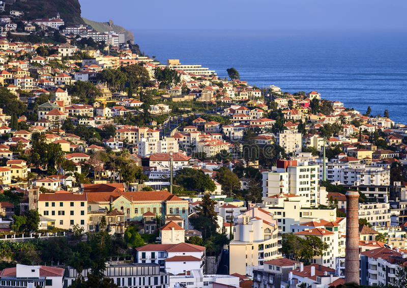 Funchal in Madeira. A view of Funchal in Madeira with the sea in the background stock image
