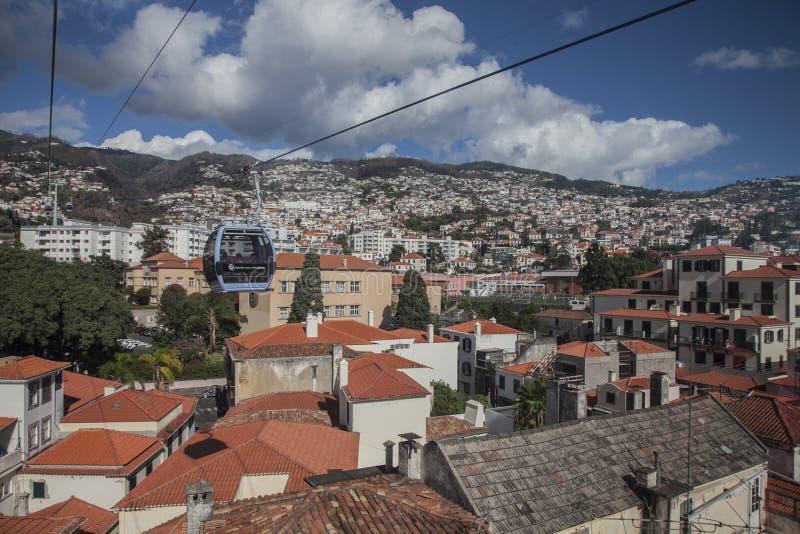 Funchal, Madera, Portugal - de oude stad op een zonnige dag stock afbeelding