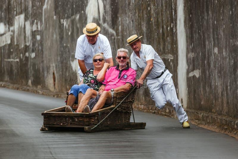 FUNCHAL, MADERA - SEPTEMBER 19: Traditionele bergaf sleereis op 19 September, 2016 in Madera, Portugal royalty-vrije stock fotografie