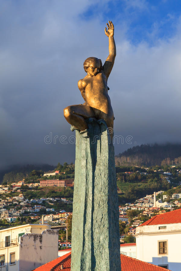 Funchal Monument. A monument standing on the Funchal waterfront on the Portuguese island of Madeira stock photography