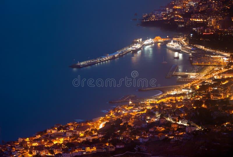 Funchal nocą, madera obrazy royalty free