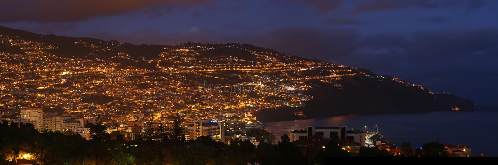 Funchal , Madeira , Portugal. Panoramic view at Funchal by night - the biggest city and administrative center of Madeira island royalty free stock photography