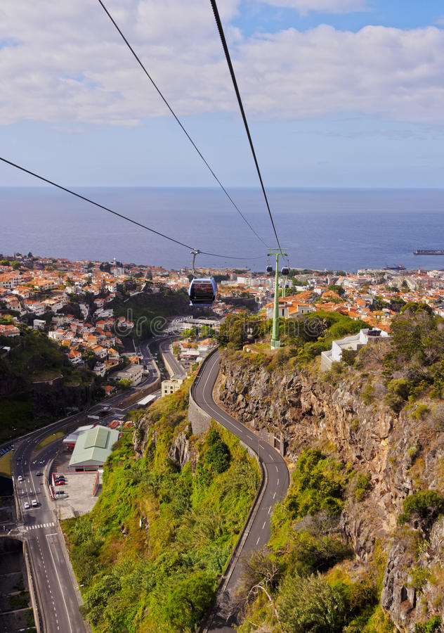 Funchal. Portugal, Madeira, Funchal, View of the Funchal-Monte Cable Car stock images