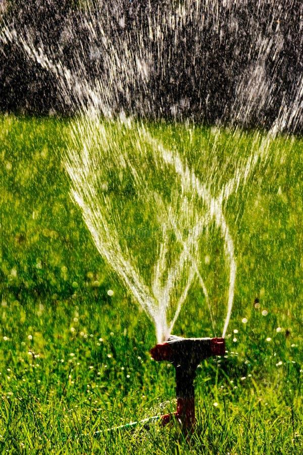 Funcionamento agrícola do sistema do sistema de extinção de incêndios do gramado Mosca borrada da água no ar foto de stock
