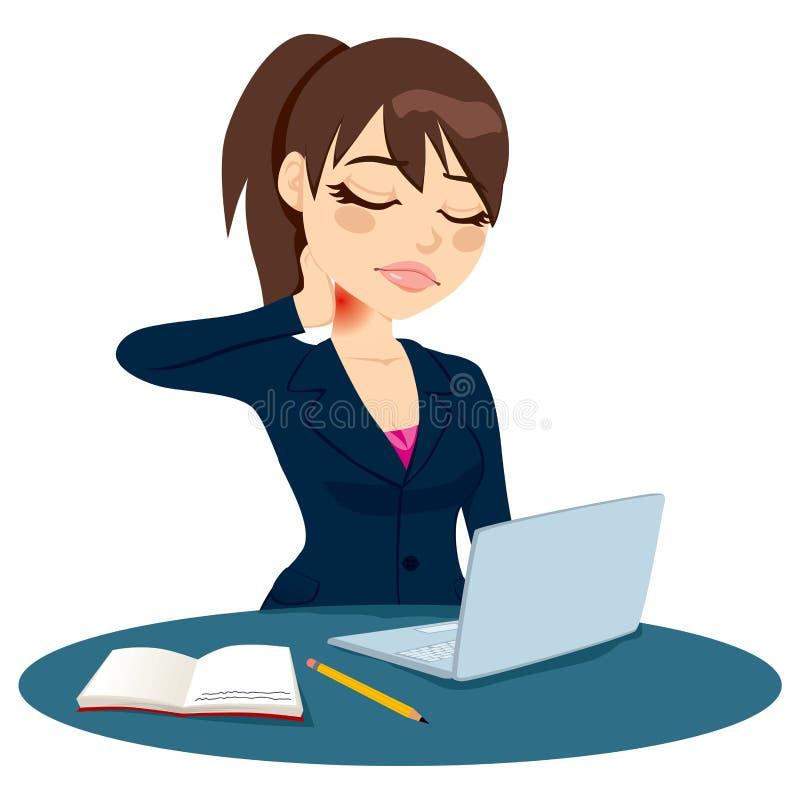 Funcionamento da dor de pescoço ilustração stock
