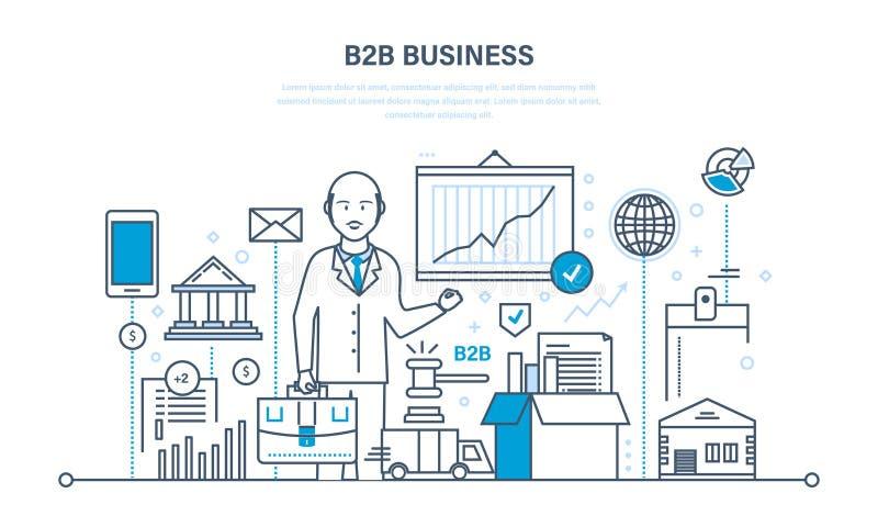 Funcionamento da equipe do negócio e B2B, mercado, vendas, transações, troca eletrônica ilustração stock