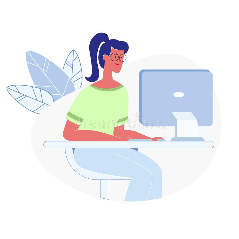 Funcionamento da mulher na ilustração lisa do vetor do computador ilustração do vetor