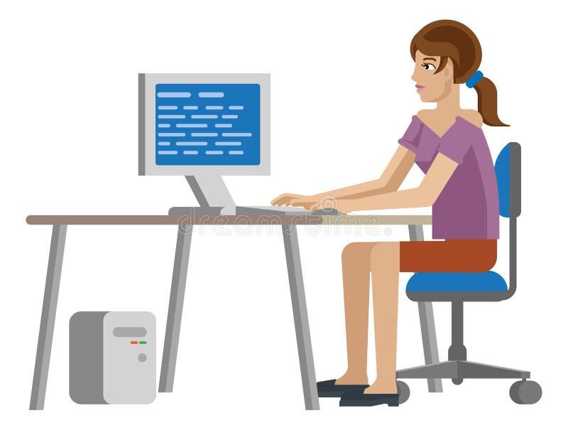 Funcionamento da mulher na mesa em desenhos animados do escritório para negócios ilustração royalty free