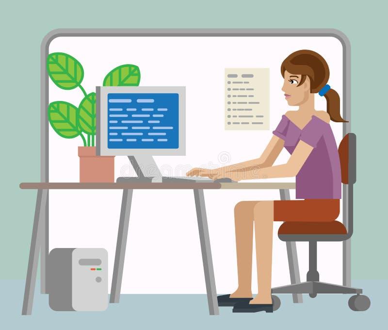Funcionamento da mulher na mesa em desenhos animados do escritório ilustração do vetor