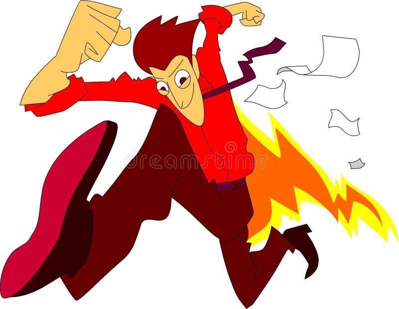Funcionamento de excitação de corrida instantâneo rápido mesmo do homem com negócio do fogo e do espírito ilustração do vetor