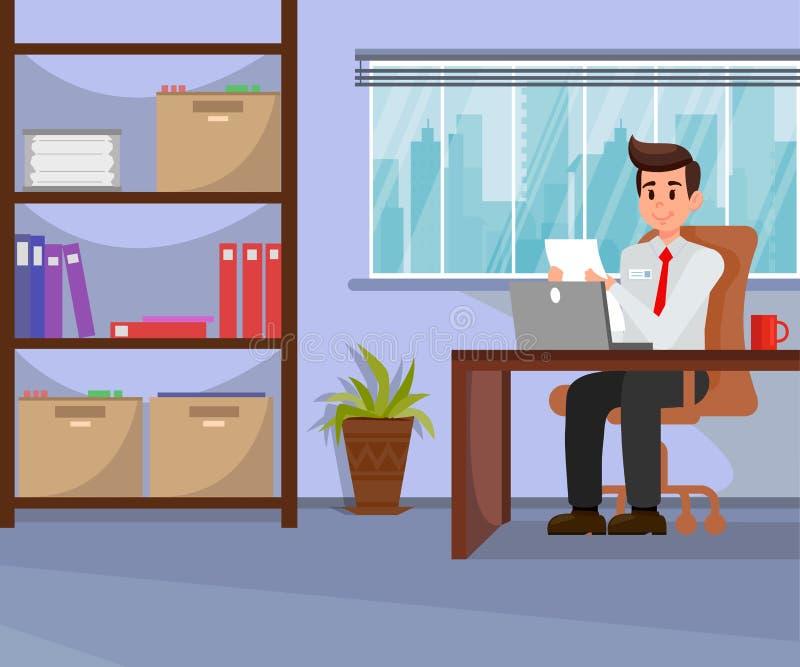 Funcionamento do empregador na ilustração do vetor do escritório ilustração do vetor