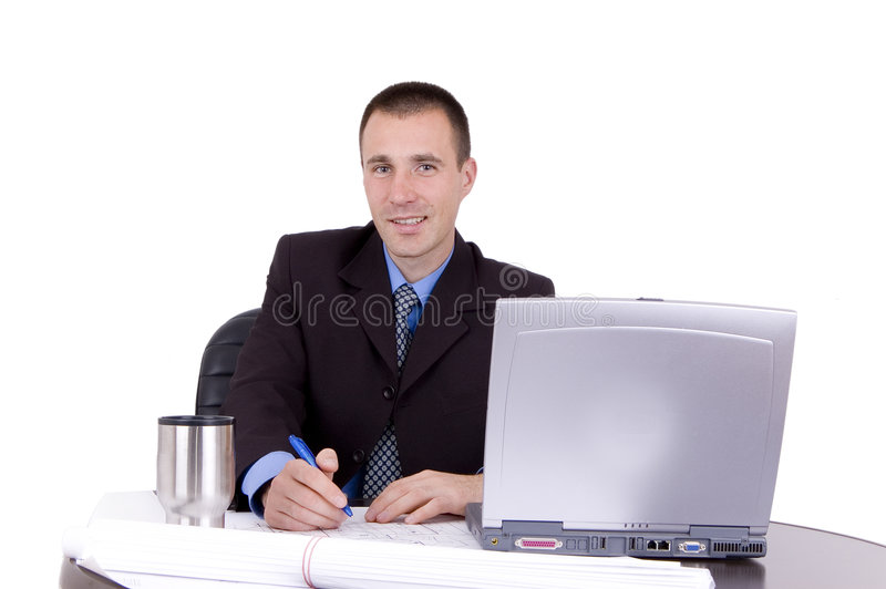 Funcionamento do homem de negócio foto de stock