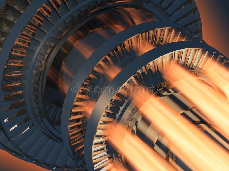 Funcionamento do motor de turbina do gás ilustração do vetor