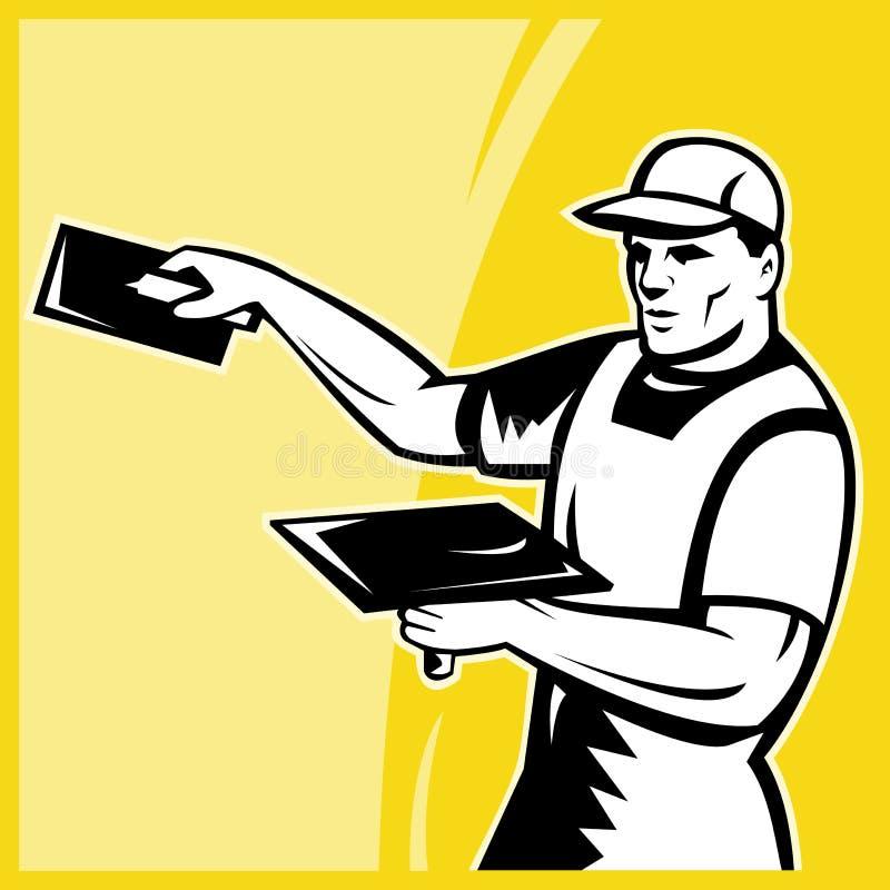 Funcionamento do trabalhador do comerciante do Plasterer ilustração royalty free