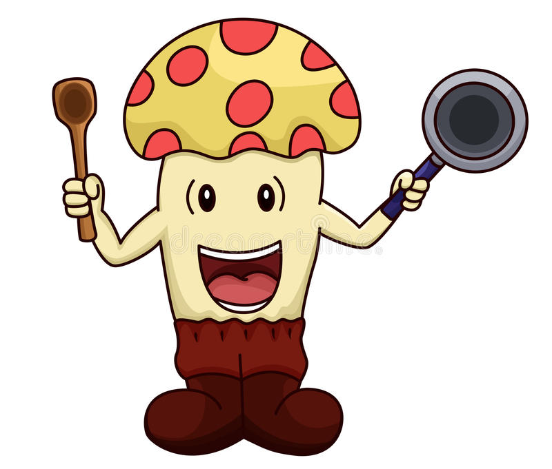 Funcionamento dos desenhos animados do cogumelo como um cozinheiro chefe ou um cozinheiro que mantêm a frigideira ilustração do vetor
