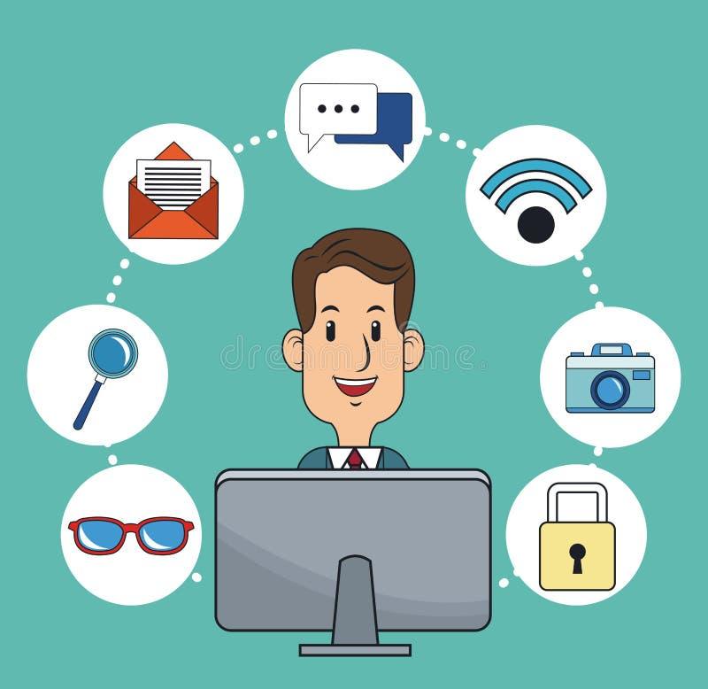 Funcionamento em linha do mercado digital do negócio do homem ilustração stock