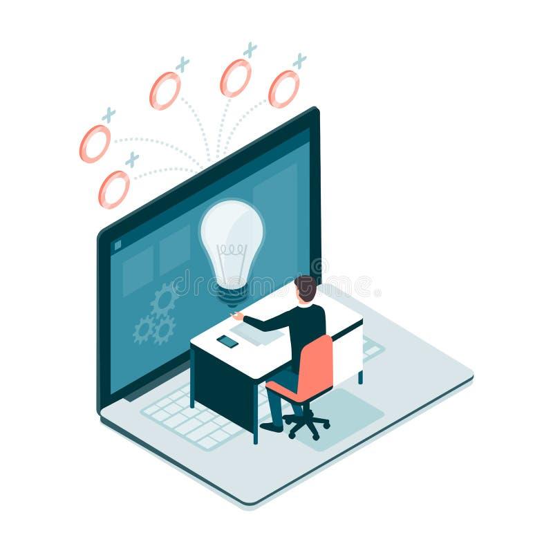 Funcionamento em linha e projeto que crowdfunding ilustração stock