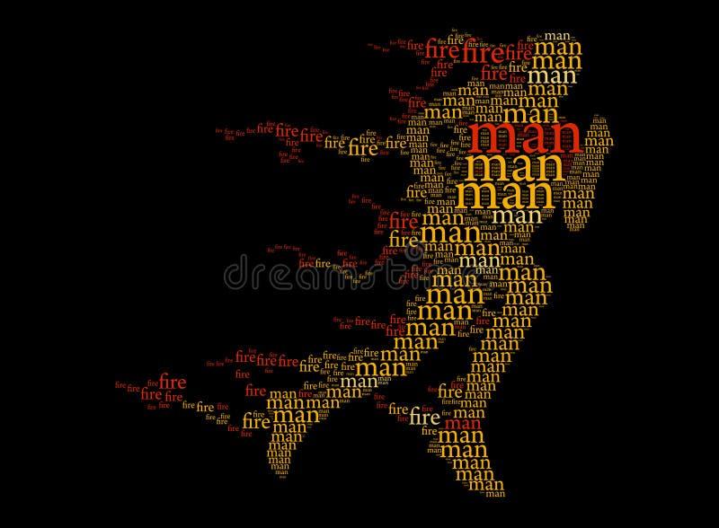 Funcionamento, homem impetuoso, cor - caligrafia e texto. ilustração do vetor