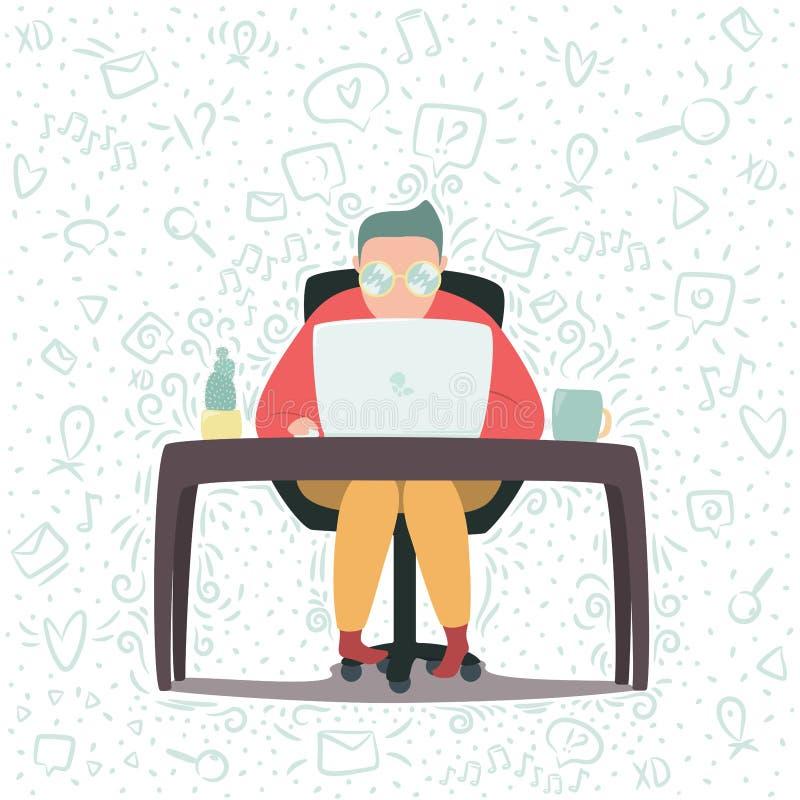 Funcionamento humano no portátil ilustração do vetor