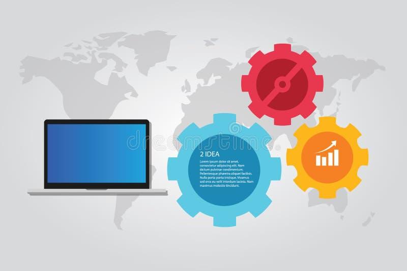 Funcionamento infographic da engrenagem do mundo do mapa do portátil do computador da tecnologia da informação ilustração do vetor