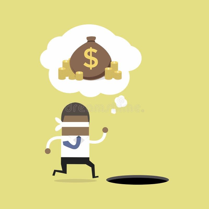 Funcionamiento africano con los ojos vendados del hombre de negocios para encontrar el dinero con el agujero del hoyo ilustración del vector