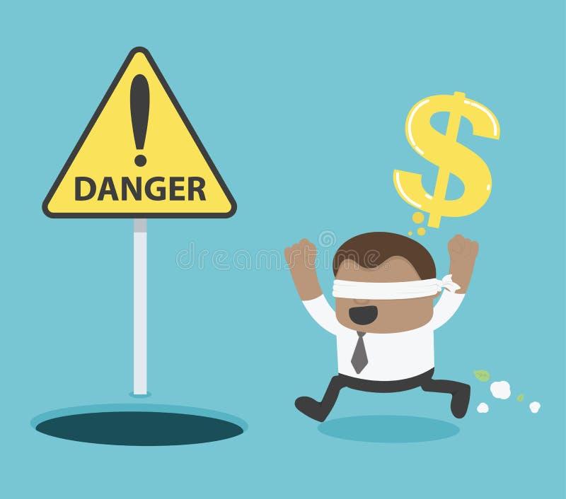 Funcionamiento africano con los ojos vendados del hombre de negocios para encontrar el dinero con el hoyo h libre illustration