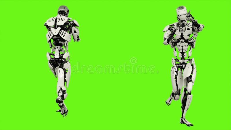 Funcionamiento androide del robot con un arma Movimiento realista en la pantalla verde representación 3d ilustración del vector
