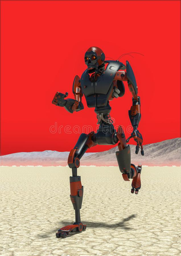 Funcionamiento apocalíptico del robot stock de ilustración