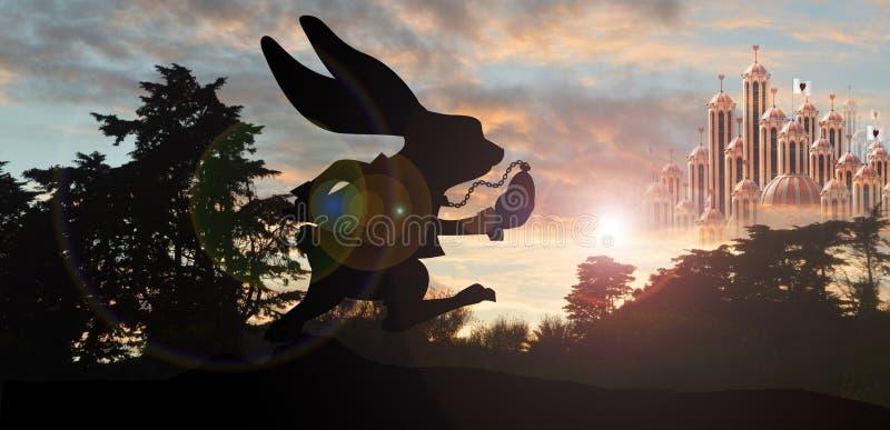 Funcionamiento blanco del conejo ilustración del vector