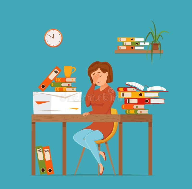 Funcionamiento cansado ocupado de la mujer en concepto colorido del vector del ordenador Ejemplo plano del estilo de la historiet ilustración del vector