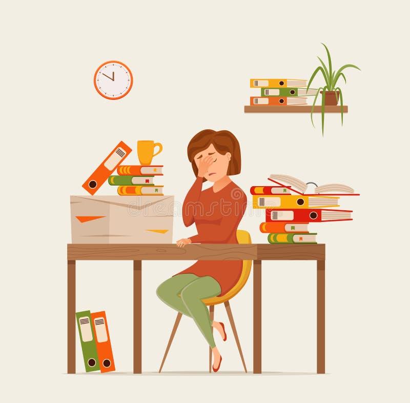 Funcionamiento cansado ocupado de la mujer en concepto colorido del vector del ordenador Ejemplo plano del estilo de la historiet libre illustration