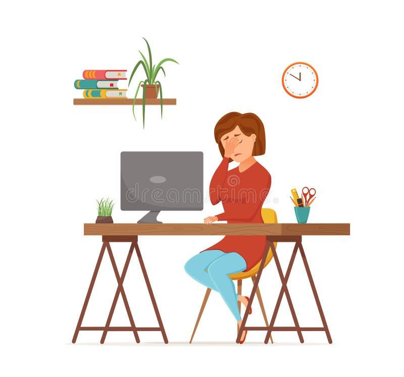 Funcionamiento cansado ocupado de la mujer en concepto colorido del vector del ordenador Estilo plano de la historieta stock de ilustración
