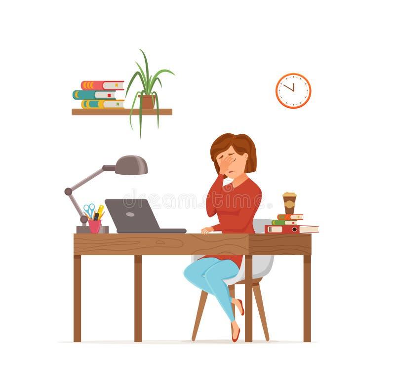 Funcionamiento cansado ocupado de la mujer en concepto colorido del vector del ordenador Estilo plano de la historieta libre illustration