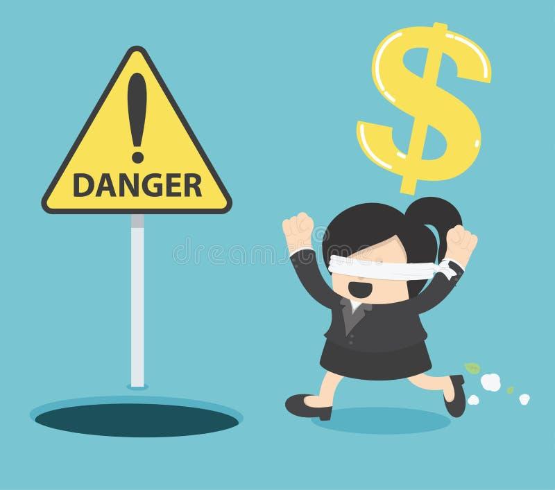 Funcionamiento con los ojos vendados de la mujer de negocios para encontrar el dinero con el agujero del hoyo stock de ilustración