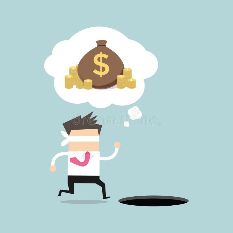 Funcionamiento con los ojos vendados del hombre de negocios para encontrar el dinero con el agujero del hoyo ilustración del vector