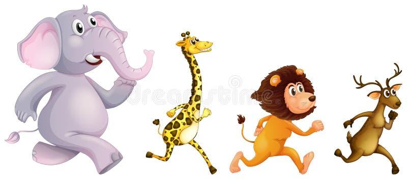 Funcionamiento de cuatro animales salvajes ilustración del vector
