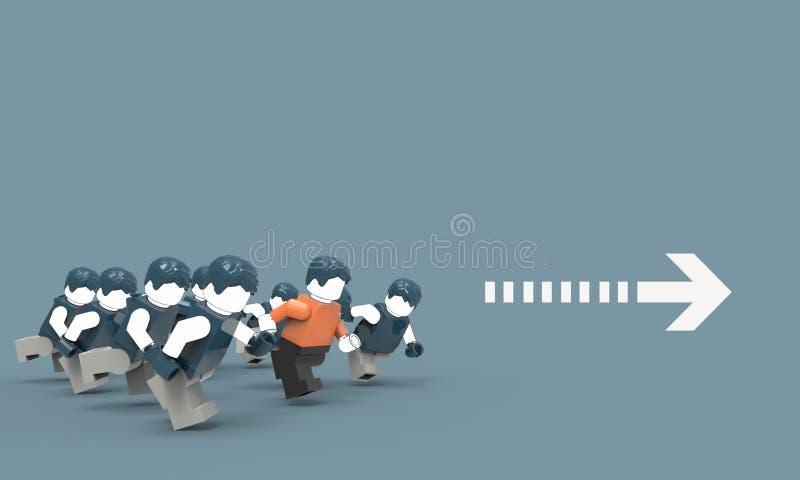 Funcionamiento de la dirección del negocio y grupos humanos en fondo azul ilustración del vector
