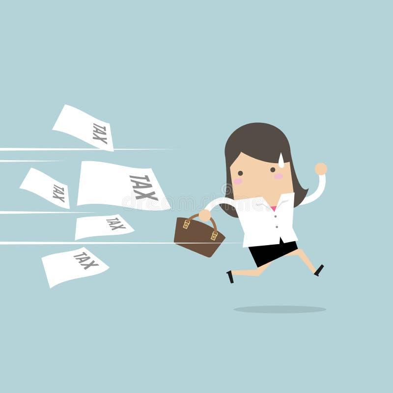 Funcionamiento de la empresaria lejos de la factura del impuesto ilustración del vector