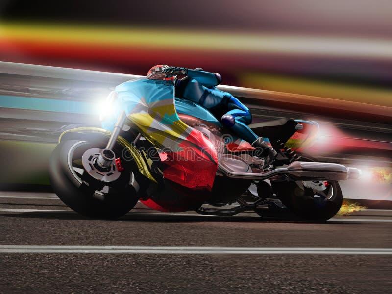 Funcionamiento de la motocicleta stock de ilustración
