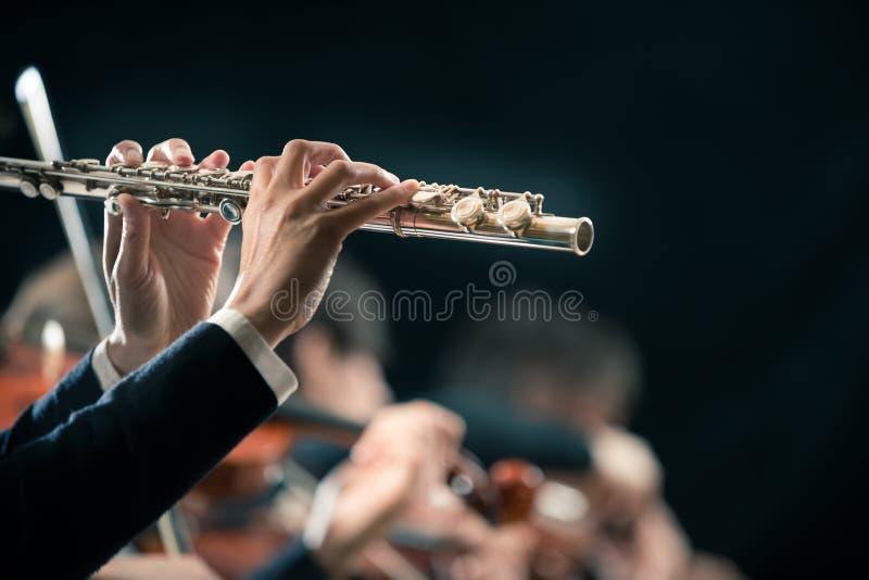 Funcionamiento de la orquesta sinfónica: primer del flautista imágenes de archivo libres de regalías