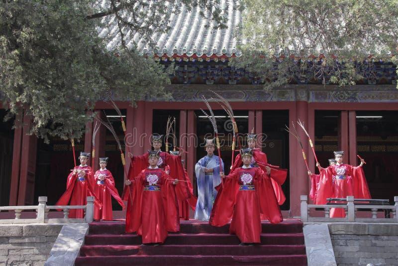 Funcionamiento de la Rito-música de Dacheng en Temple of Confucius en Pekín, China imagen de archivo libre de regalías