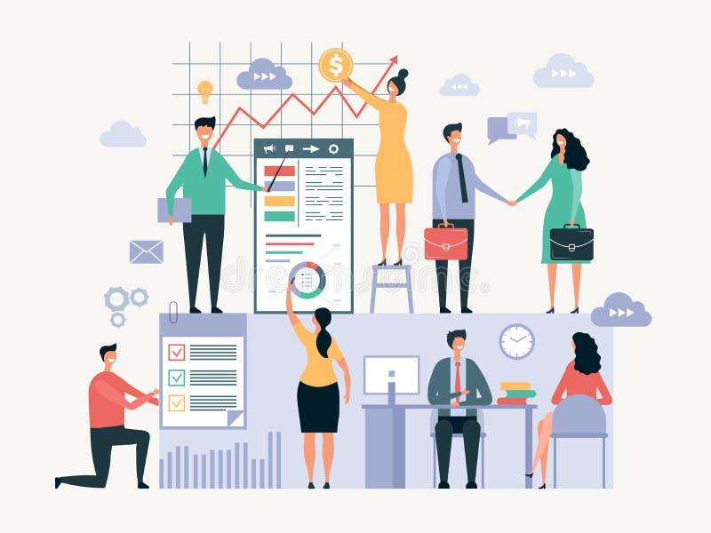 Funcionamiento de las personas del asunto Los hombres de negocios de los administradores de oficinas hacen juntos un cierto extra libre illustration