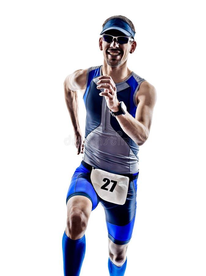 Funcionamiento de los corredores del atleta del hombre del hierro del triathlon del hombre imagenes de archivo