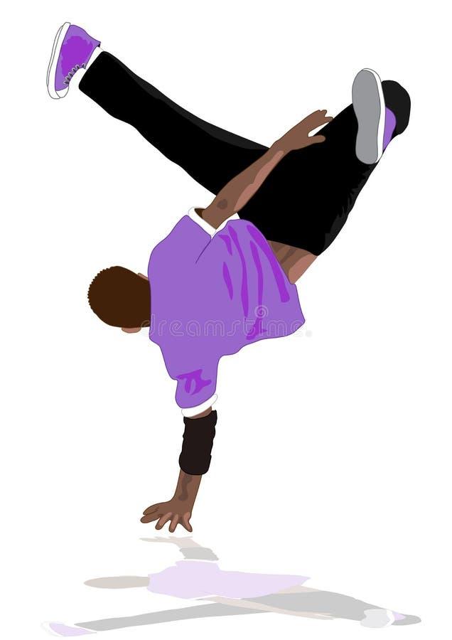 Funcionamiento del bailarín de la rotura stock de ilustración