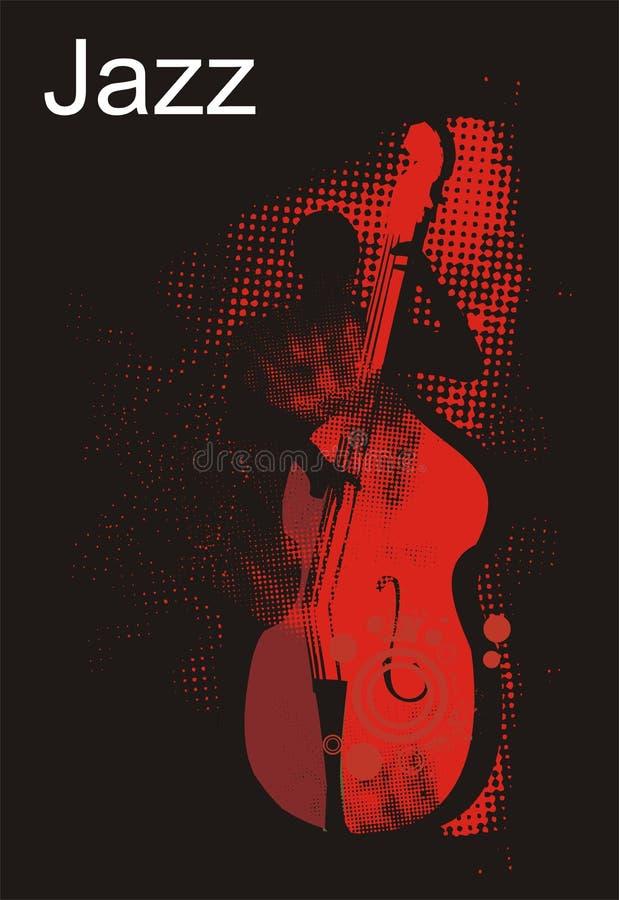 Funcionamiento del bajista del jazz stock de ilustración