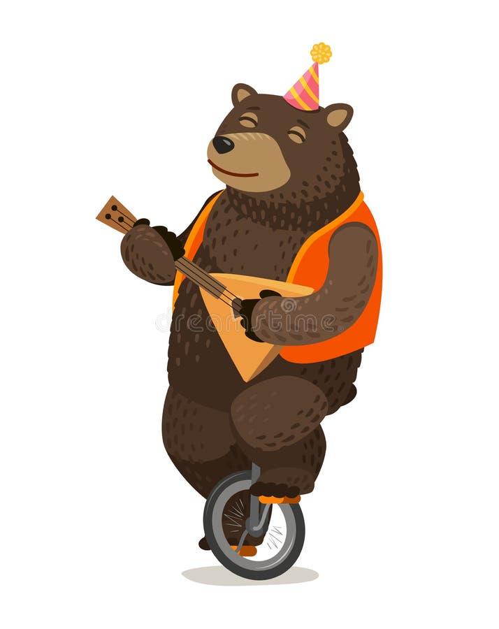 Funcionamiento del circo El oso feliz monta el unicycle y juega la balalaica Ilustración del vector de la historieta stock de ilustración